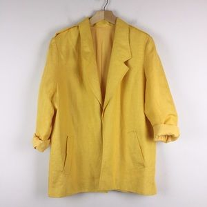 Vintage unstructured blazer lemon canary yellow